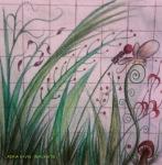 7. ADINA SAVIN - IMAGINATIE I - TEHNICA MIXTA PE PANEL - 20 X 20