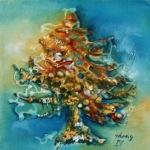 44. CRISTINA TAMAS - CHRISTMAS TREE - TEHNICA MIXTA - 20 X 20 - 150 E
